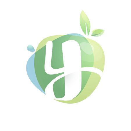 Y letter logo with negative space at green watercolor splash background. Vector elements for organic food labels, ecology presentation, card etc. 일러스트