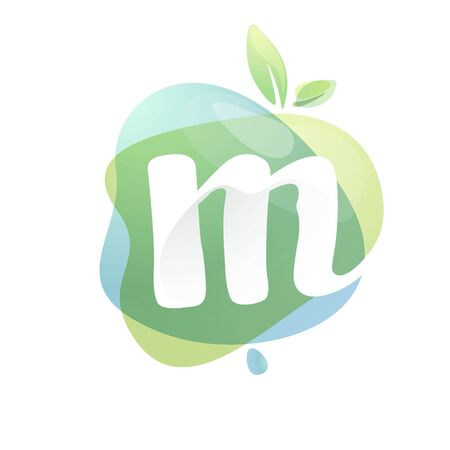 M letter logo with negative space at green watercolor splash background. Vector elements for organic food labels, ecology presentation, card etc. 일러스트
