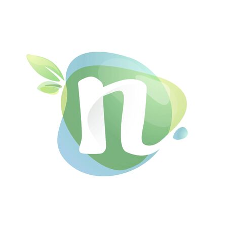 N letter logo with negative space at green watercolor splash background. Vector elements for organic food labels, ecology presentation, card etc. 일러스트