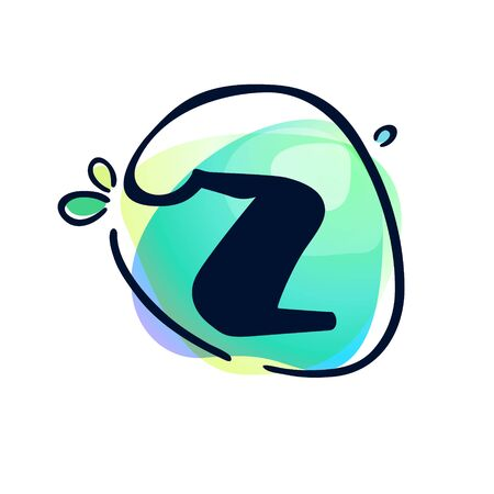 Z letter stroke logo at colorful watercolor splash background. Color multiply style. Font style, vector design template elements for labels, headlines, posters, cards etc.