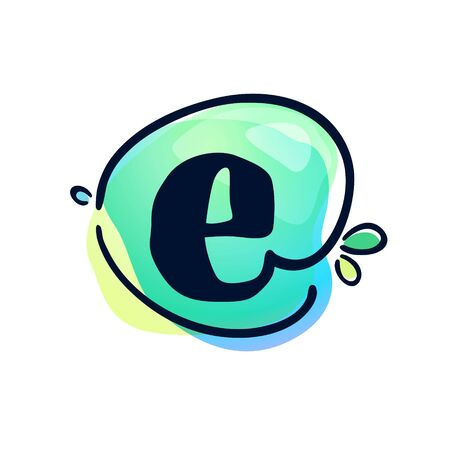 E letter stroke logo at colorful watercolor splash background. Color multiply style. Font style, vector design template elements for labels, headlines, posters, cards etc. 일러스트
