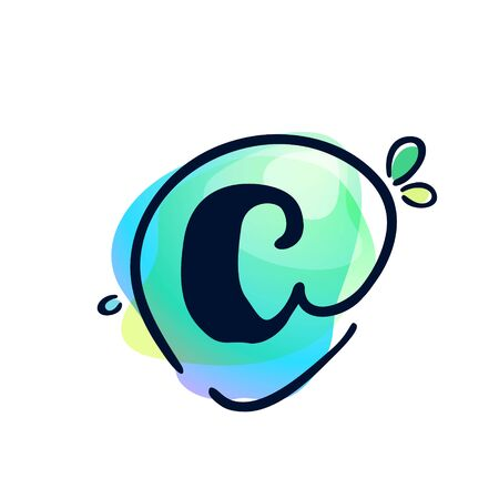 C letter stroke logo at colorful watercolor splash background. Color multiply style. Font style, vector design template elements for labels, headlines, posters, cards etc. 일러스트