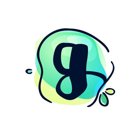 G letter stroke logo at colorful watercolor splash background. Color multiply style. Font style, vector design template elements for labels, headlines, posters, cards etc. Logó