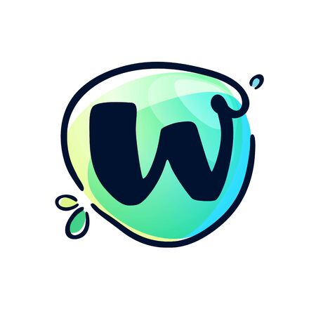 W letter stroke logo at colorful watercolor splash background. Color multiply style. Font style, vector design template elements for labels, headlines, posters, cards etc.