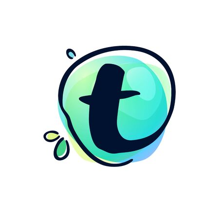T letter stroke logo at colorful watercolor splash background. Color multiply style. Font style, vector design template elements for labels, headlines, posters, cards etc.