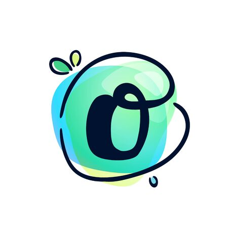 O letter stroke logo at colorful watercolor splash background. Color multiply style. Font style, vector design template elements for labels, headlines, posters, cards etc.