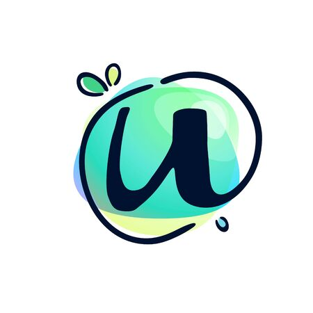 U letter stroke logo at colorful watercolor splash background. Color multiply style. Font style, vector design template elements for labels, headlines, posters, cards etc.