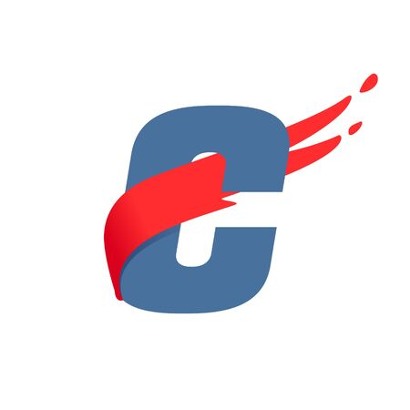 C letter logo with fast speed red flag line. Font style, delivery, sports etc vector design template elements. 矢量图像