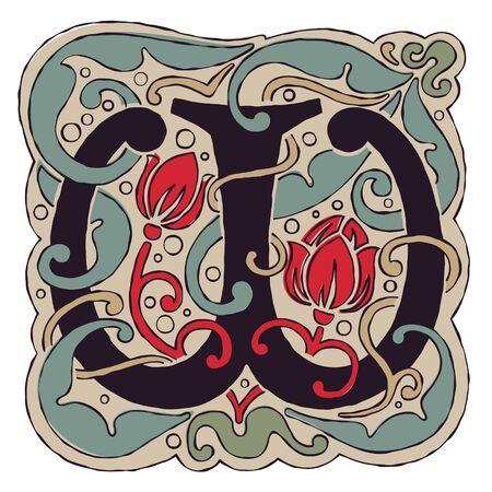W letter vintage colors antique gothic initial icon.
