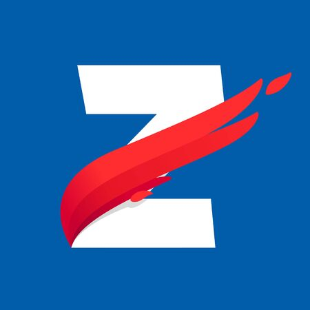 Z letter icon with fast speed red bird wing. Typeface, design template elements for sport team, shipping, travel etc. Stock fotó - 132615611