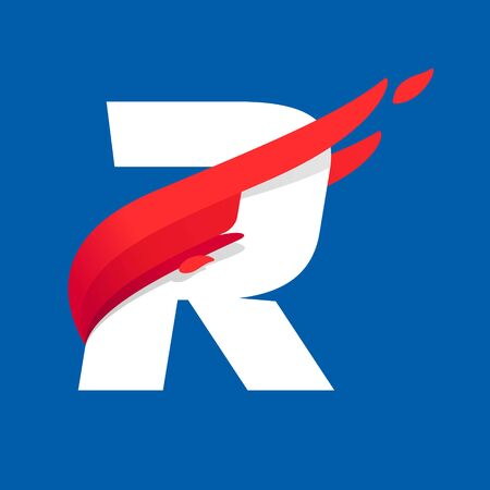 R letter icon with fast speed red bird wing. Typeface, design template elements for sport team, shipping, travel etc.
