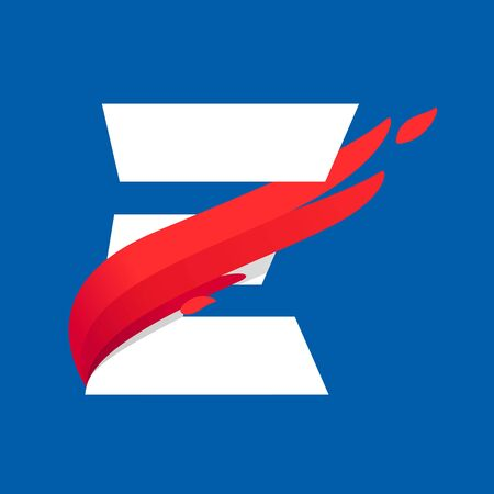 E letter icon with fast speed red bird wing. Typeface, design template elements for sport team, shipping, travel etc.