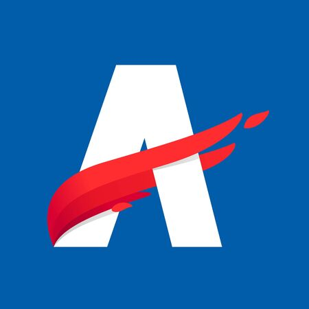 Letter A icon with fast speed red bird wing. Typeface, design template elements for sport team, shipping, travel etc.