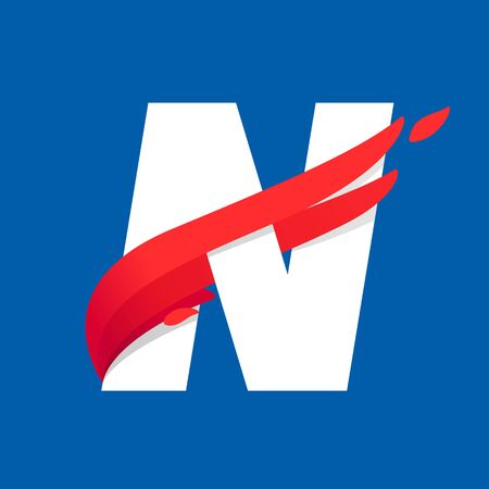 N letter icon with fast speed red bird wing. Typeface, design template elements for sport team, shipping, travel etc.