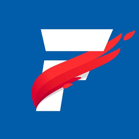 F letter icon with fast speed red bird wing. Typeface, design template elements for sport team, shipping, travel etc.