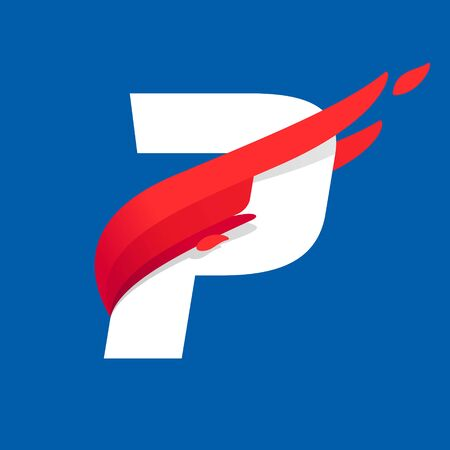 P letter icon with fast speed red bird wing. Typeface, design template elements for sport team, shipping, travel etc.