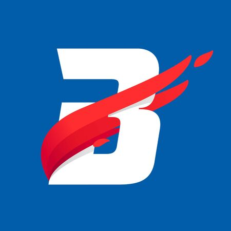 B letter icon with fast speed red bird wing. Typeface, design template elements for sport team, shipping, travel etc. Illusztráció