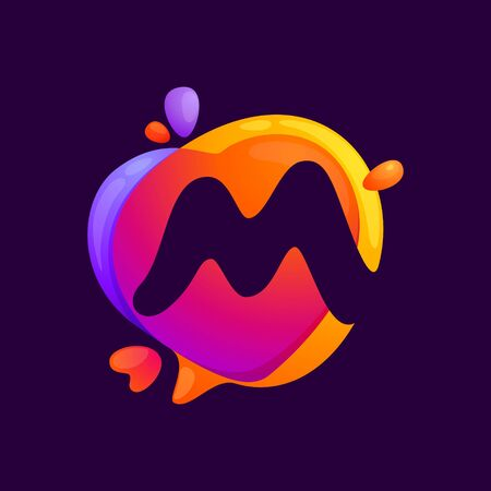 M letter at colorful speech bubble and heart background. Color multiply style. Vector typeface for app, headlines, posters, cards etc.