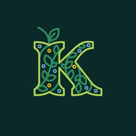 Premium vector typeface with green leaves and dew dots for eco, vegan, bio, raw, organic template. Ilustração