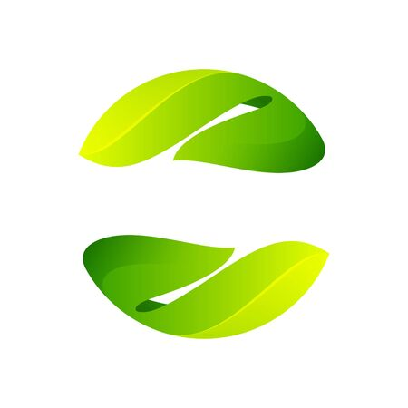 Ecology sphere logo formed by twisted green leaves. Vector design template elements for vegan, bio, raw, organic template. Logo