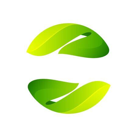 Logotipo de la esfera de ecología formado por hojas verdes retorcidas. Elementos de plantilla de diseño vectorial para plantilla vegana, bio, cruda y orgánica. Logos