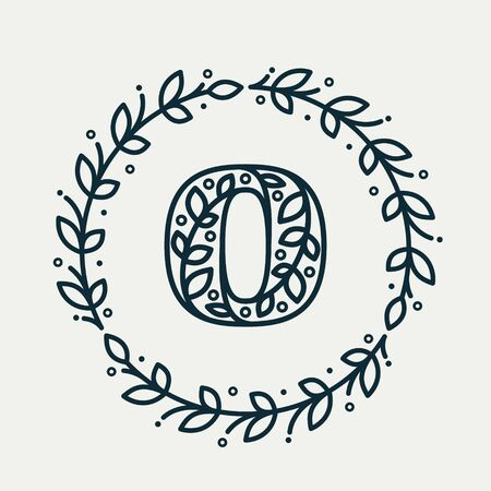 O letter consisting of floral pattern in a circle laurel wreath. Linear heraldic vector font. Can be used for boutique, cafe, restaurant, royalty, hotel, jewelry or sport industry.