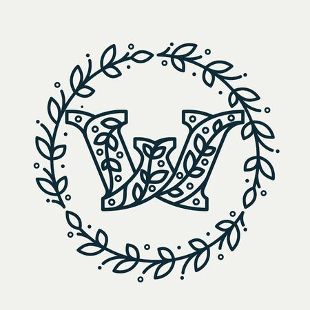 W letter consisting of floral pattern in a circle laurel wreath. Linear heraldic vector font. Can be used for boutique, cafe, restaurant, royalty, hotel, jewelry or sport industry. Ilustracja