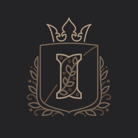 Letter I consisting of floral pattern letters in a heraldic shield with crown. Can be used for security, hotel, resort, restaurant, boutique, jewelry, interior and fashion industry. Ilustrace