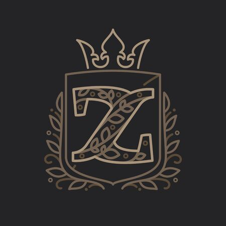 Z letter consisting of floral pattern letters in a heraldic shield with crown. Can be used for security, hotel, resort, restaurant, boutique, jewelry, interior and fashion industry. Vettoriali