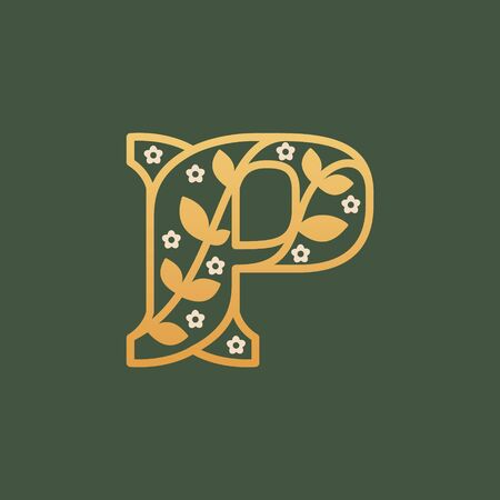 P letter consisting of floral pattern letters with chamomile flower. Linear classic vector font. Can be used for cosmetics, spa, beauty salon, decoration, boutique, jewelry and fashion industry.