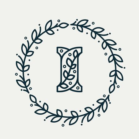 Letter I consisting of floral pattern in a circle laurel wreath. Linear heraldic vector font. Can be used for boutique, cafe, restaurant, royalty, hotel, jewelry or sport industry.