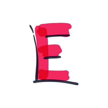 E letter logo handwritten with a felt-tip pen. Vector red marker font can be used for posters, interior or prints.