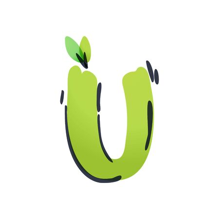 U letter ecology logo with green leaves handwritten with a felt-tip pen. Vector green marker font can be used for eco, vegan, bio, raw, organic template. Ilustração