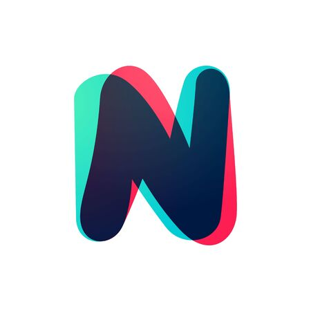 Overlapping gradient letter N logotype. Curve rounded font. Vibrant glossy colors.