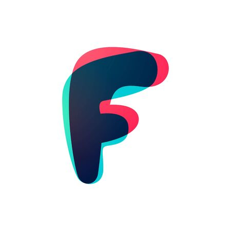 Overlapping gradient letter F logotype. Curve rounded font. Vibrant glossy colors.