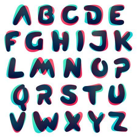 Chevauchement de l'alphabet dégradé. Police arrondie de courbe. Couleurs brillantes vibrantes. Vecteurs