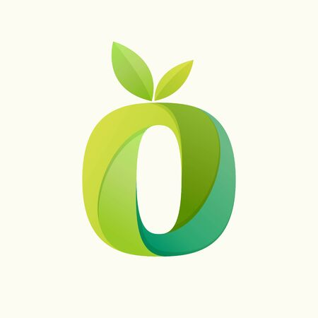 Swirling letter O logo with green leaves. Slab serif font can be used for eco, vegan, bio, raw, organic template. Ilustração