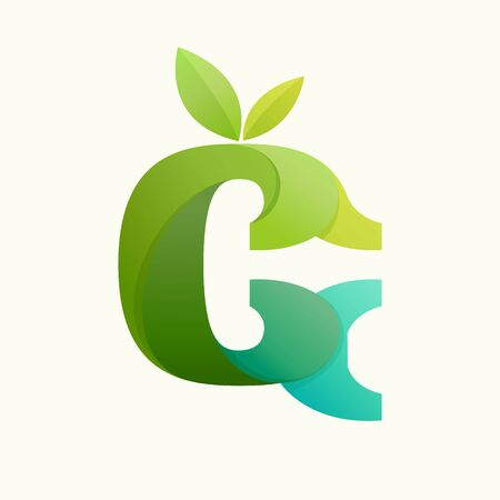Swirling letter G logo with green leaves. Slab serif font can be used for eco, vegan, bio, raw, organic template.