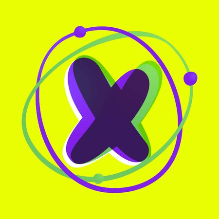 Science letter X. High technology overlapping gradient font. Vivid glossy colors. 向量圖像