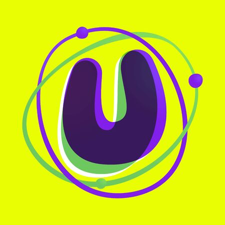 Wissenschaftsbuchstabe U-Logo. High-Tech-Schrift mit überlappendem Farbverlauf. Lebendige glänzende Farben.