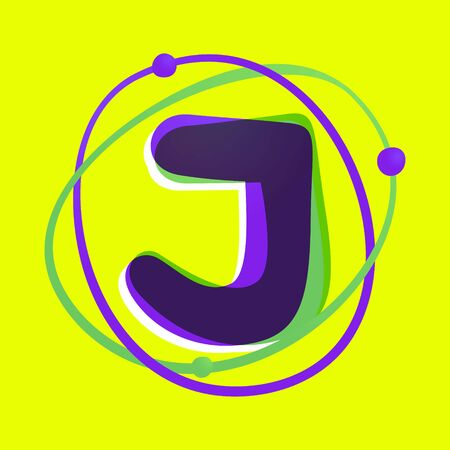 Science letter J logotype. High technology overlapping gradient font. Vivid glossy colors.