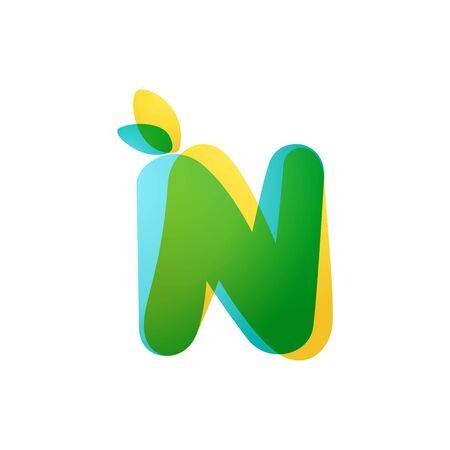 N letter eco logo. Overlapping gradient font with green leaves. Vector green template can be used for eco, vegan, bio, raw, organic.