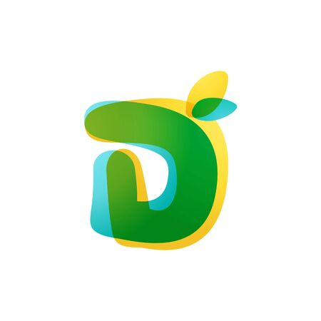 D letter eco logo. Overlapping gradient font with green leaves. Vector green template can be used for eco, vegan, bio, raw, organic.