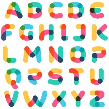 Overlapping one line alphabet. Curve rounded font. Vibrant glossy colors.