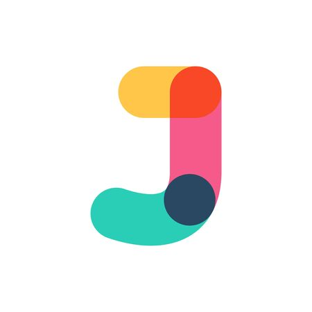 Overlapping one line letter J logotype. Curve rounded font. Vibrant glossy colors.