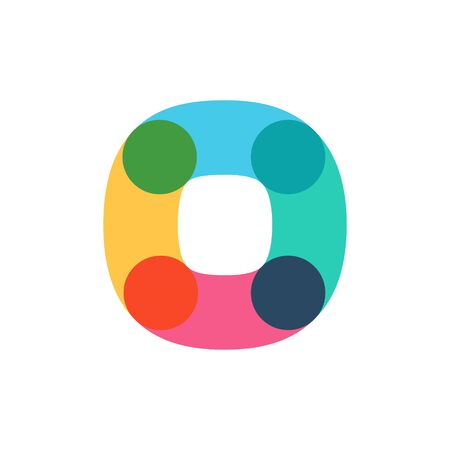 Overlapping one line letter O logotype. Curve rounded font. Vibrant glossy colors. 矢量图像