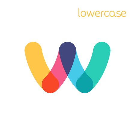 Overlapping one line lowercase letter w logotype. Curve rounded font. Vibrant glossy colors.