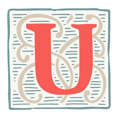 Renaissance U letter logo in classic vintage colors. Roman typeface, vector premium design template elements for identity, package, book, diploma, etc.