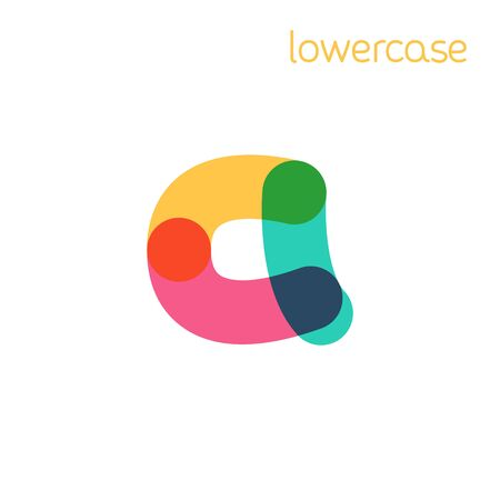 Overlapping one line lowercase letter a logotype. Curve rounded font. Vibrant glossy colors.
