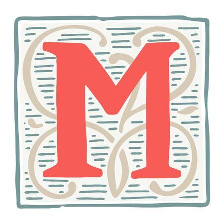 Renaissance M letter logo in classic vintage colors. Roman typeface, vector premium design template elements for identity, package, book, diploma, etc.  イラスト・ベクター素材